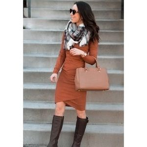 LEITH Brown Spice Ruched BodyCon Long Sleeve Dress